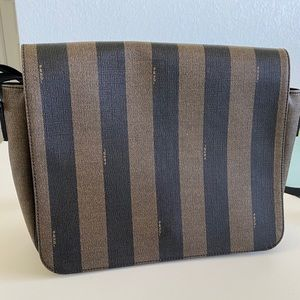 FENDI Brown Pequin Striped Shoulder Bag